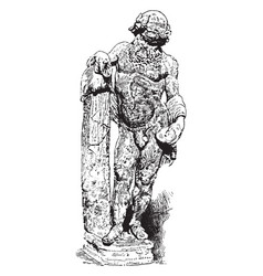 Silenus - marble sculpture in greek mythology vector
