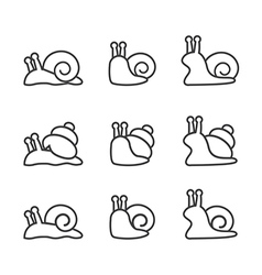 Snail icon set line vector