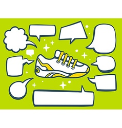 Sneaker with speech comics bubbles on gre vector