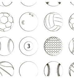 Sport balls set pattern vector