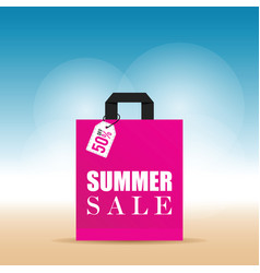 Summer sale on pink bag in colorful vector