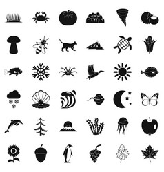 View of nature icons set simple style vector