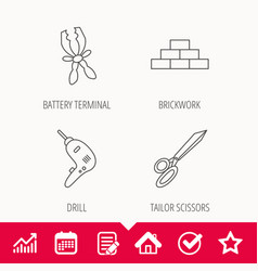 Wall battery terminals and scissors icons vector
