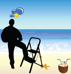 Worker on the beach paradise vector