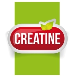 Creatine button or pill - fitness supplement vector