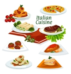 Italian cuisine dinner with dessert cartoon icon vector