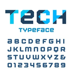 Tech square font alphabet with latin letters and vector