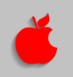 Bite apple sign red icon with soft shadow vector