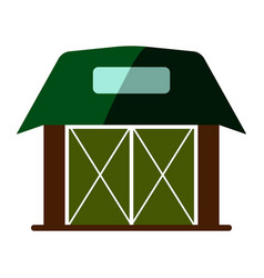 wooden flat barn house icon vector image