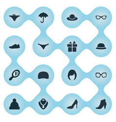 set of simple wardrobe icons vector image
