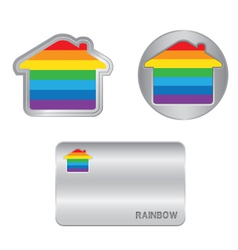 Home icon on the rainbow flag vector