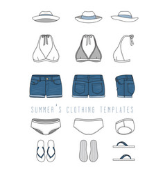 Clothing templates set vector