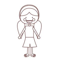 sketch contour smile expression cartoon pigtails vector image