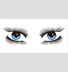 Blue woman looking eyes icon on white background vector