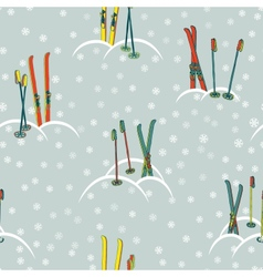 Retro ski pattern vector