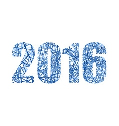 2016 figures from network New year line numbers vector image
