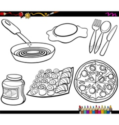 Food objects set coloring page vector