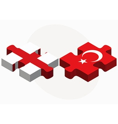 England and turkey flags in puzzle vector