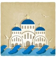 Greek church near blue sea vector