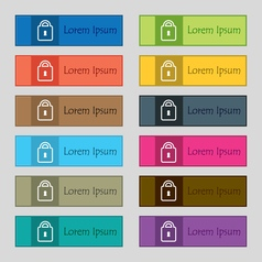Lock icon sign set of twelve rectangular colorful vector
