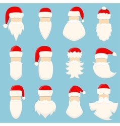 Set of twelve santa s hats and beards vector