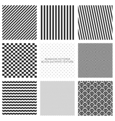Set of seamless pattern black and white vector