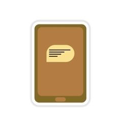 Paper sticker on white background phone message vector