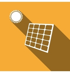Solar energy panel icon with long shadow vector