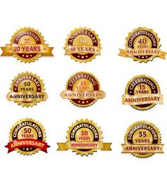 Anniversary gold badge set vector