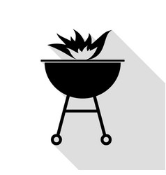 barbecue with fire sign black icon with flat vector image vector image