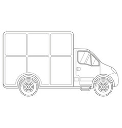 black and white delivery truck side view vector image