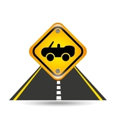Cabriolet car yellow road street sign vector