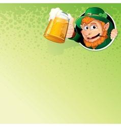 Cartoon leprechaun with mug of ale image vector