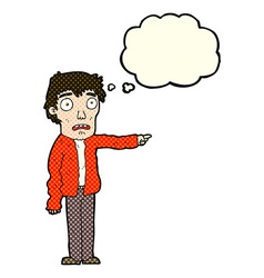Cartoon terrified man pointing with thought bubble vector