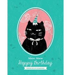 Cat animal cartoon birthday card design vector