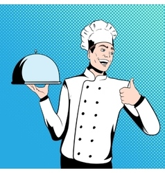Chef cook holds a tray vector