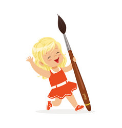 cute blonde little girl in a red dress holding vector image