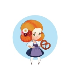 Cuter Girl with pretzel in dirndl vector image vector image