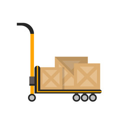 Delivery boxes on truck in flat design vector