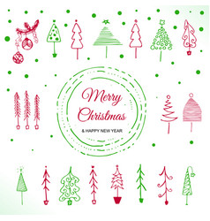 doodle christmas tree vector image vector image