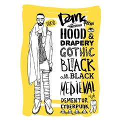 Doodle set dark fashion look vector