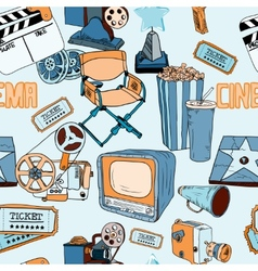 Doodles cinema color seamless similars vector