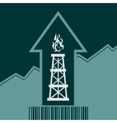 Gas rig icon on grow up arrow and bar code vector