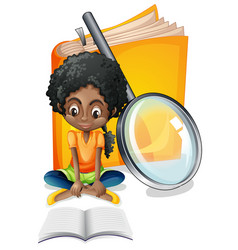 girl and giant yellow book vector image vector image