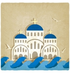 Greek Church near blue sea vector image vector image
