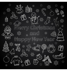 Happy New Year and Merry Christmas set on a chalk vector image vector image
