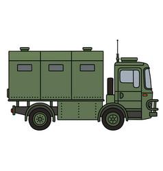 Khaki military truck vector