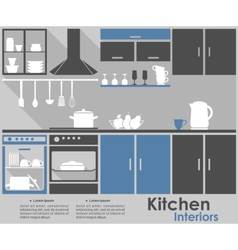 Kitchen interior infographic design vector
