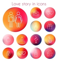 Love story in line icons vector image vector image