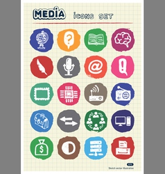 Media and business icons set drawn by chalk vector image
